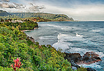 View overlooking part of Hanalei Bay, on the north coast of Kauai, Hawaii