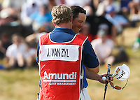 Caddie John Rawlings overjoyed as Jaco Van Zyl (RSA) leads the field on -10 after a round of 64 during Round Three of the 2015 Alstom Open de France, played at Le Golf National, Saint-Quentin-En-Yvelines, Paris, France. /04/07/2015/. Picture: Golffile | David Lloyd<br /> <br /> All photos usage must carry mandatory copyright credit (© Golffile | David Lloyd)