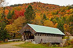 Fall foliage at the Lovejoy Covered Bridge, Andover, ME, USA