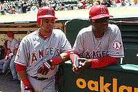 OAKLAND, CA - MAY 23:  Maicer Izturis #13 and coach Alfredo Griffin #4 of the Los Angeles Angels get ready before the game against the Oakland Athletics at the Oakland Coliseum on Wednesday May 23, 2012 in Oakland, California. Photo by Brad Mangin
