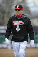 St. John's University Redstorm Head Coach Ed Blankmeyer during game 1 of a double header against the University of Cincinnati Bearcats at Jack Kaiser Stadium on March 28, 2013 Queens, New York.  St. John's defeated Cincinnati 6-5 in game 1.                                                                      (Tomasso DeRosa/ Four Seam Images)