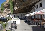 Buildings built with cave rock roof at Setenil de las Bodegas, Cadiz province, Spain