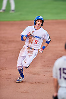 Connor Heady (9) of the Ogden Raptors hustles towards third base against the Grand Junction Rockies at Lindquist Field on September 6, 2017 in Ogden, Utah. Ogden defeated Grand Junction 11-7. (Stephen Smith/Four Seam Images)