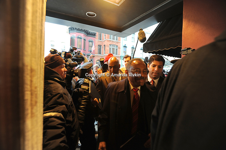 Senator Roland Burris enters Maggiano's restaurant in Chicago, Illinois for a City Club of Chicago luncheon on February 18, 2009.  Burris admitted in Peoria, Illinois on February 16 to trying unsuccessfully to raise campaign funds for impeached former Illinois Governor Rod Blagojevich while seeking a Senate appointment.