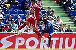Getafe CF's Djene Dakoman and Girona FC's Juanpe Ramirez during La Liga match. May 05,2019. (ALTERPHOTOS/Alconada)
