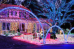 Stock photo of a House decorated with colorful Christmas lights shining at night Xmas holiday decoration Thornhill Canada 2007