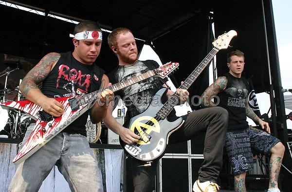 "18 July 2008 - Burgettstown, Pennsylvania - Hardcore band ATREYU performs as a part of the ""Projekt Revolution Tour 2008"" held at the Post-Gazette Pavilion. Photo Credit: Jason Nelson/AdMedia"