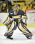 15 February 2008: Merrimack College Warriors' goaltender Patrick Watson, a Junior from Waltham, MA, warms up prior to a game against the University of Vermont Catamounts at Gutterson Fieldhouse in Burlington, Vermont. The Catamounts defeated the Warriors 4-1 in the first game of their 2-game weekend series...Mandatory Photo Credit: Ed Wolfstein Photo