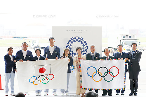 Yuriko Koike, Seiko Hashimoto, Saori Yoshida, Tsunekazu Takeda, Keisuke Ushiro (JPN), AUGUST 24, 2016 : The Olympic flag welcoming ceremony at Haneda Airport in Tokyo, Japan. The Olympic flag was received to Tokyo governor from IOC President at the Rio de Janeiro 2016 Olympic Games closing ceremony on August 21. Tokyo is host of the 2020 Olympic games. (Photo by Sho Tamura/AFLO SPORT)