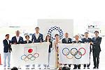 Yuriko Koike, Seiko Hashimoto, Saori Yoshida, Tsunekazu Takeda, Keisuke Ushiro (JPN), AUGUST 24, 2016 : The Olympic flag welcoming ceremony at Haneda Airport in Tokyo, Japan. The Olympic flag was received to Tokyo governor from IOC President at the Rio de Janeiro 2016 Olympic Games closing ceremony on August 21. Tokyo is host of the 2020 Olympic games. (Photo by Sho Tamura/AFLO SPORT)