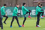 11.02.2020, Trainingsgelaende am wohninvest WESERSTADION,, Bremen, GER, 1.FBL, Werder Bremen Training, im Bild<br /> <br /> Spieler in der Aufwaermpase vor dem Training<br /> Johannes Eggestein (Werder Bremen #24)<br /> Ludwig Augustinsson (Werder Bremen #05)<br /> Yuya Osako (Werder Bremen #08)<br /> Michael Lang (Werder Bremen #04)<br /> <br /> Foto © nordphoto / Kokenge