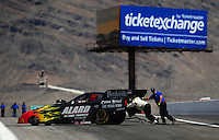 Apr. 13, 2008; Las Vegas, NV, USA: NHRA funny car driver Bob Bode is pushed off the track after his first round victory during the SummitRacing.com Nationals at The Strip in Las Vegas. Mandatory Credit: Mark J. Rebilas-