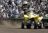 The Seattle Mariners mascot Moose entertained the crowd on a 4-wheeler during the July 18, 2004 game against the Cleveland Indians at Safeco field in Seattle, WA.