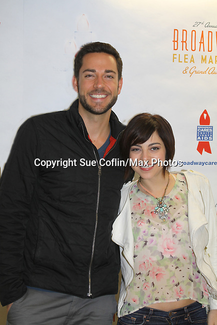 Zachary Levi & Krysta Rodriguez star in First Date - Broadway's Musical Comedy at the 27th Annual Broadway Flea Market & Grand Auction to benefit Broadway Cares/Equity Fights Aids in Shubert Alley, New York City, New York.  (Photo by Sue Coflin/Max Photos)