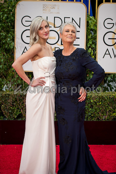 "Annie Guest and Jamie Lee Curtis, Golden Globe nominee for BEST PERFORMANCE BY AN ACTRESS IN A TELEVISION SERIES – COMEDY OR MUSICAL for her role in ""Scream Queens,"" arrive at the 73rd Annual Golden Globe Awards at the Beverly Hilton in Beverly Hills, CA on Sunday, January 10, 2016. Photo Credit: HFPA/AdMedia"