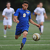 Luis Sanchez #9 of Roosevelt races downfield during a Nassau County varsity boys soccer game played against host Roslyn High School on Thursday, Oct. 5, 2017.