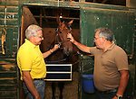 New York Post Columnist John Crudele (R) checks on Lights Gone Wild who will race that day for Trainer Chuck Spina (L)  at Monmouth Park in Oceanport, New Jersey on Saturday July 9, 2016. Photo By Bill Denver/EQUI-PHOTO
