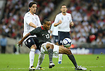 28 May 2008: Ricardo Clark (USA) (13) is defended by Owen Hargreaves (ENG) (4). The England Men's National Team defeated the United States Men's National Team 2-0 at Wembley Stadium in London, England in an international friendly soccer match.