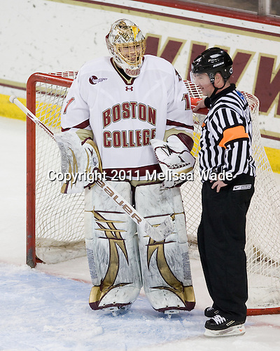 John Muse (BC - 1), Jeff Bunyon - The Boston College Eagles defeated the visiting University of New Hampshire Wildcats 4-0 while celebrating senior night on Friday, March 4, 2011, at Conte Forum in Chestnut Hill, Massachusetts.