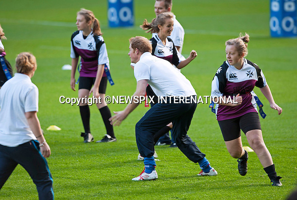 PRINCE HARRY<br /> Patron of the Rugby Football Union (RFU) All Schools Programme, joined a coaching session at Twickenham Stadium, London for young people from participating secondary schools across the country_17/10/2013<br /> Mandatory Credit Photo: &copy;Piper/NEWSPIX INTERNATIONAL<br /> <br /> **ALL FEES PAYABLE TO: &quot;NEWSPIX INTERNATIONAL&quot;**<br /> <br /> IMMEDIATE CONFIRMATION OF USAGE REQUIRED:<br /> Newspix International, 31 Chinnery Hill, Bishop's Stortford, ENGLAND CM23 3PS<br /> Tel:+441279 324672  ; Fax: +441279656877<br /> Mobile:  07775681153<br /> e-mail: info@newspixinternational.co.uk