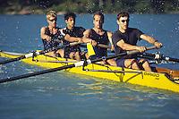 Rowing, Mens fours on Green Lake, Whistler.                 Model Released
