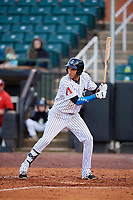 Jackson Generals right fielder Victor Reyes (5) at bat during a game against the Chattanooga Lookouts on April 27, 2017 at The Ballpark at Jackson in Jackson, Tennessee.  Chattanooga defeated Jackson 5-4.  (Mike Janes/Four Seam Images)