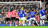 Lincoln City's Michael Bostwick, scores his side's first goal<br /> <br /> Photographer Andrew Vaughan/CameraSport<br /> <br /> Emirates FA Cup Third Round - Everton v Lincoln City - Saturday 5th January 2019 - Goodison Park - Liverpool<br />  <br /> World Copyright &copy; 2019 CameraSport. All rights reserved. 43 Linden Ave. Countesthorpe. Leicester. England. LE8 5PG - Tel: +44 (0) 116 277 4147 - admin@camerasport.com - www.camerasport.com