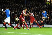 Ianis Hagi of Rangers shoots and scores during Rangers vs SC Braga, UEFA Europa League Football at Ibrox Stadium on 20th February 2020