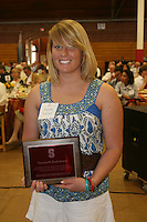 STANFORD, CA - June 12:  Megan Nesland accepts the water polo team award during the 2008 Athletic Board Award Luncheon at the Ford Center in Stanford, California.