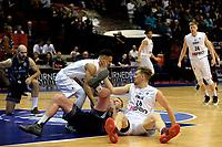 GRONINGEN - Basketbal, Donar - Cluj ,  Europe League, seizoen 2017-2018, 24-01-2018,  Donar speler Thomas Koenes en Donar speler Brandyn Curry proberen de bal te veroveren