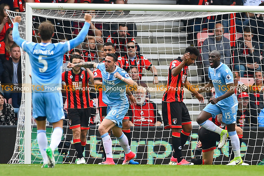 Stoke City players celebrate the own goal scored by Lys Mousset of AFC Bournemouth second right during AFC Bournemouth vs Stoke City, Premier League Football at the Vitality Stadium on 6th May 2017