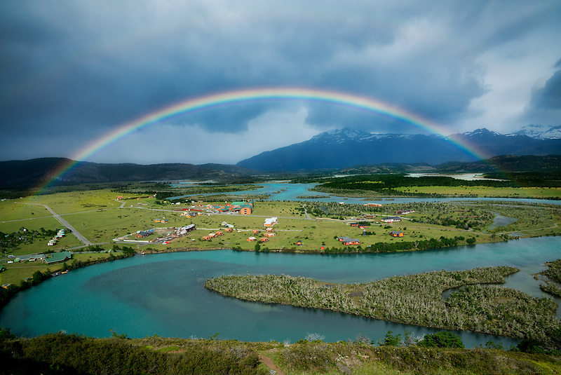 Rio Paine River and valley . Torres del Paine National Park, Patagonia, Chile, South America