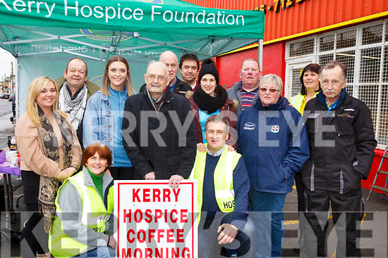 The Kerry Hospice held a coffee morning fundraise at Kingdom fast fit in Boherbue on Friday morning last, kneeing front l-r, Breda and Martin Quirke with Ted Moynihan. <br /> Back row, l-r, Rosie Tull, Simon Moynihan, Deirdre McCarthy, Jack Griffin, Martina Quirke, Morgan O&rsquo;Flaherty, Ted O&rsquo;Connor, Chris O&rsquo;Connor, Patricia Dennehy and Tom Quirke.
