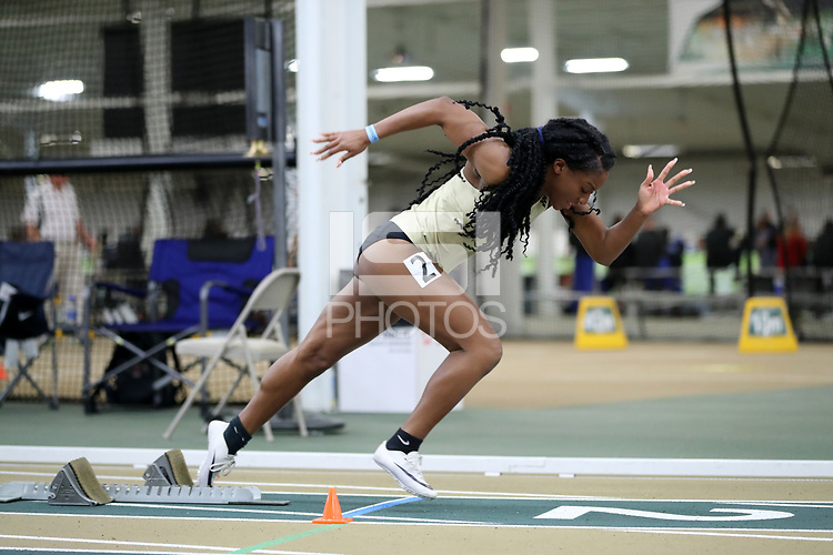 WINSTON-SALEM, NC - FEBRUARY 08: Cydney Delley #2 of Wake Forest University jumps out of the blocks in the Women's 400 Meters at JDL Fast Track on February 08, 2020 in Winston-Salem, North Carolina.
