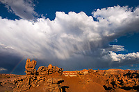 746000048 a summer thunderstorm and rainbow form over the sandstone hoodoos in fantasy canyon blm lands utah united states