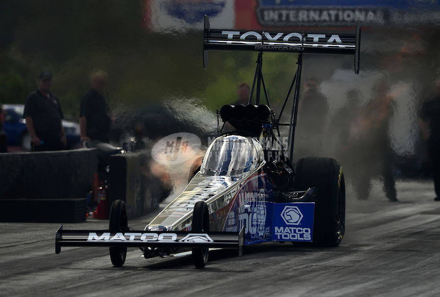 Jan. 16, 2013; Jupiter, FL, USA: NHRA top fuel dragster driver Antron Brown during testing at the PRO Winter Warmup at Palm Beach International Raceway.  Mandatory Credit: Mark J. Rebilas-