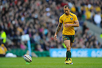 Quade Cooper of Australia prepares to take a conversion kick attempt during the QBE Autumn International match for the Cook Cup between England and Australia at Twickenham on Saturday 2nd November 2013 (Photo by Rob Munro)