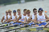 Brandenburg, GERMANY, GBR BM8+,  Bow, Josh DAVIDSON, Chris ABRAHAM, Mason DURANT, Fred GILL, Karl HUSSPITH, Matthew ROSSITER, Nathaniel REILLY-O'DONNELL, Scott DURANT and cox Henry FIELDMAN., 2008 FISA U23 World Rowing Championships, Saturday, 19/07/2008, [Mandatory credit: Peter Spurrier Intersport Images]... Rowing Course: Brandenburg, Havel Rowing Course, Brandenburg, GERMANY