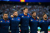 Nicolas Mas, Vincent Debaty, Alexandre Flanquart, Alexandre Dumoulin and Rory Kockott of France sing the national anthem. QBE International match between England and France on August 15, 2015 at Twickenham Stadium in London, England. Photo by: Patrick Khachfe / Onside Images