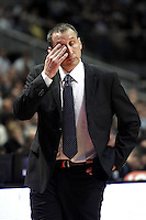 Maccabi's coach David Blatt dejected during Euroliga quarter final match. April 10,2013.(ALTERPHOTOS/Alconada) /NortePhoto