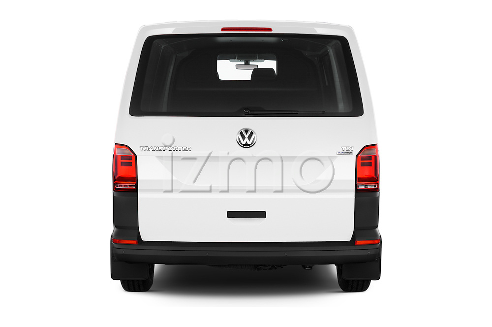 Straight rear view of 2016 Volkswagen Transporter-Furgon - 4 Door Cargo Van Rear View  stock images