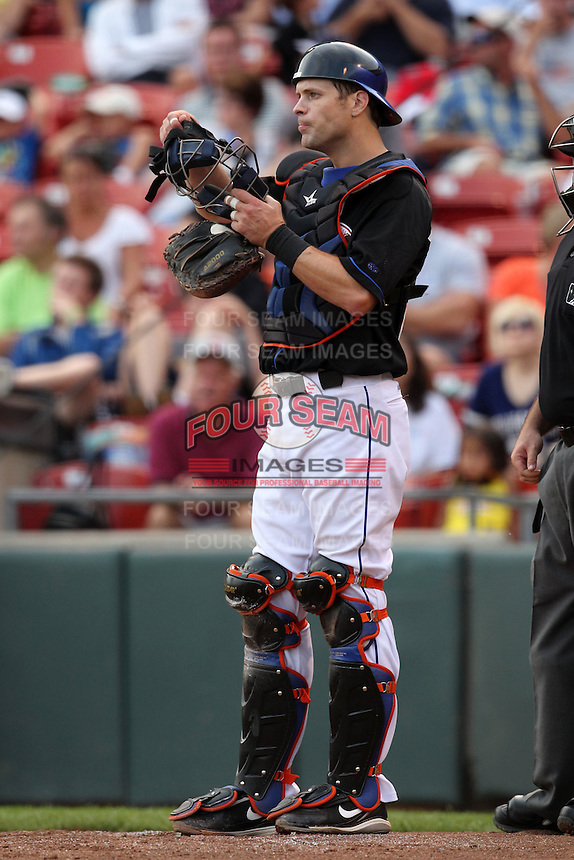 Buffalo Bisons catcher Michael Barrett during a game vs. the Lehigh Valley IronPigs at Coca-Cola Field in Buffalo, New York;  August 1, 2010.  Buffalo defeated Lehigh Valley 2-1 in 10 innings.  Photo By Mike Janes/Four Seam Images