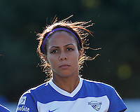 Boston Breakers forward Sydney Leroux (2). In a National Women's Soccer League (NWSL) match, Boston Breakers (blue) defeated FC Kansas City (white), 1-0, at Dilboy Stadium on August 10, 2013.