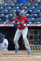 Dalton Pompey (24) of the Buffalo Bison squares to bunt against the Durham Bulls at Durham Bulls Athletic Park on April 25, 2018 in Allentown, Pennsylvania.  The Bison defeated the Bulls 5-2.  (Brian Westerholt/Four Seam Images)