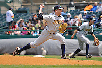 Pat Venditte (27) of the Trenton Thunder delivers a pitch during a game against the New Britain Rock Cats at New Britain Stadium on Mat 7, 2014 in New Britain, Connecticut.  Trenton defeated New Britain 6-4.  (Gregory Vasil/Four Seam Images)
