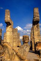 Mexico, Yucatan, Chichen Itza, Statue of Chac Mool, Temple of Warriors