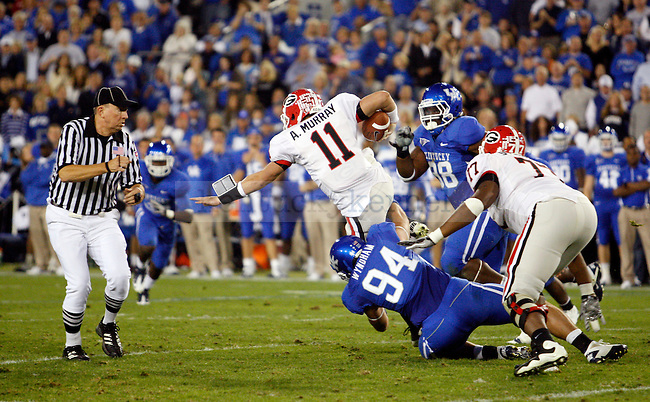 DeAngelo Tyson gets taken down by Taylor Wyndham in the first half of UK vs Georgia on Sat. Oct. 23, 2010. Photo by Britney McIntosh | Staff