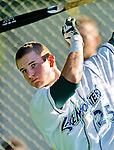 18 August 2012: Vermont Lake Monsters infielder Daniel Robertson takes batting practice prior to a game against the Brooklyn Cyclones at Centennial Field in Burlington, Vermont. The Lake Monsters defeated the Cyclones 4-1 in NY Penn League action. Mandatory Credit: Ed Wolfstein Photo