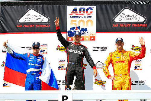 20-21 August, 2016, Long Pond, Pennsylvania USA<br /> Will Power, Mikhail Aleshin, Ryan Hunter-Reay celebrate on the podium<br /> ©2016, Phillip Abbott<br /> LAT Photo USA
