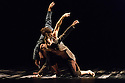 LA Dance Project presents a mixed bill of dance from choreographers Sidi Larbi Cherkaoui and Benjamin Millepied. The piece shown is:  Harbor Me. The dancers are: Aaron Carr, Morgan Lugo, Robbie Moore.